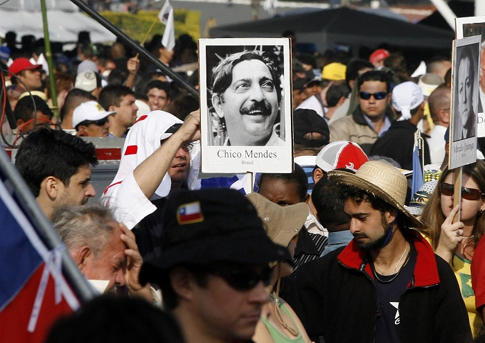 Chico Mendes' legacy as a vocal campaigner against deforestation of the Amazon remains strong throughout Brazil.