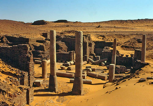The ruins of deserted town of Old Dongola in Sudan where a tomb with mysterious inscriptions and seven mummies have been found.