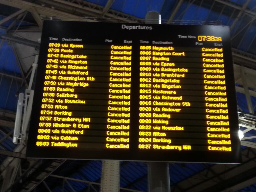 Dealys at Waterloo Station, London