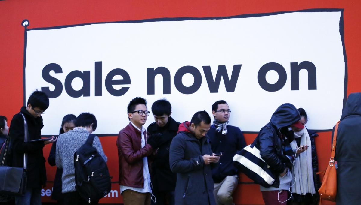 Shoppers Queue Outside Selfridges