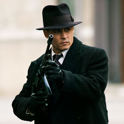 Johnny Depp as notorious bank robber John Dillinger in the 2009 movie Public Enemy.