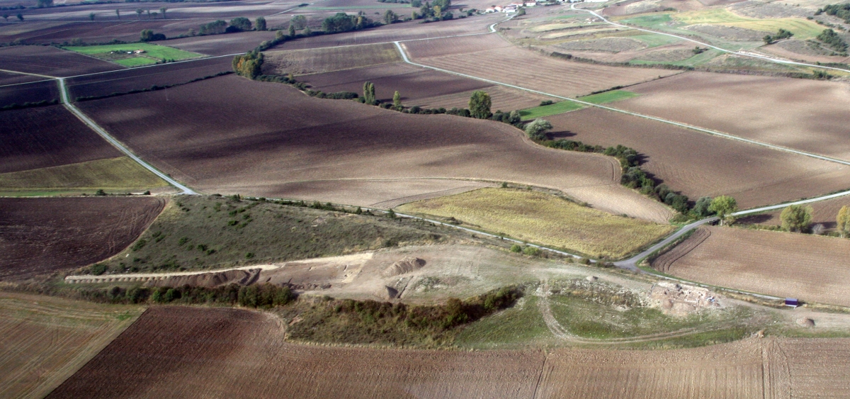 Aerial view of the deserted Alavese village at Zornostegi in northern Spain.