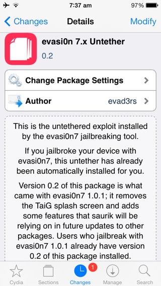 iOS 7 Untethered Jailbreak: Evasi0n 7.x Untether 0.2 Package Installs Evasi0n 1.0.1 Update via Cydia [VIDEO GUIDE]