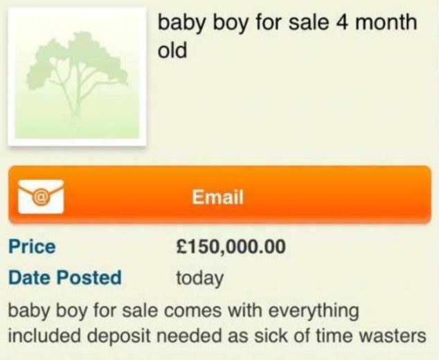 Mother Advertises Baby For Sale on Craigslist