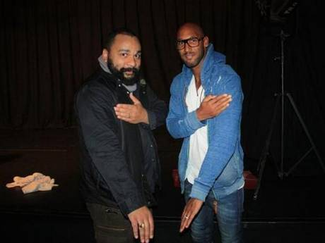 Nicolas Anelka (R) alongside controversial French comedian Dieudonne M'bala M'bala (L)