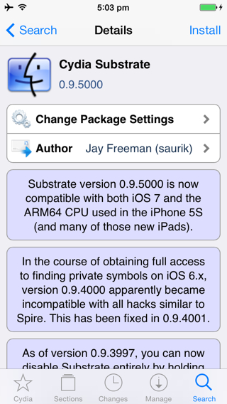 iOS 7 Untethered Jailbreak: Fix Cydia Compatibility Issues with A7 Devices by Installing Mobile Substrate 0.9.5000