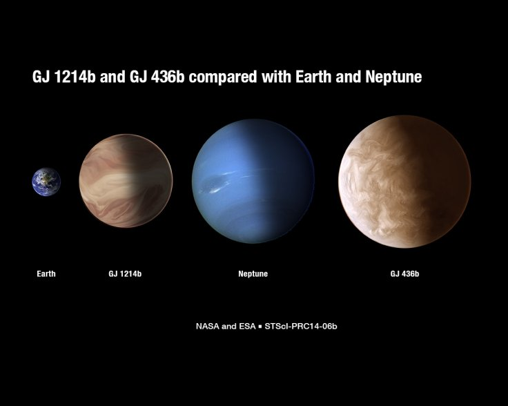 GJ 1214b and another, larger exoplanet compared to Earth and Neptune.