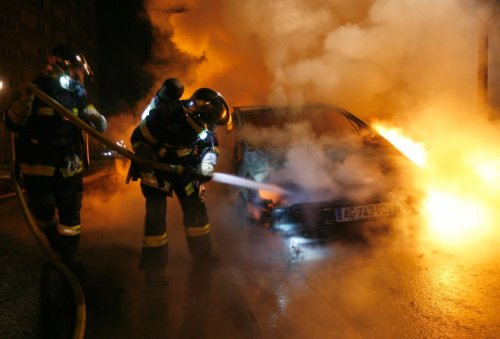 France Fire Car Burn Strasbourg New Year's