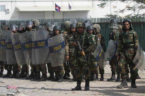 Cambodian Forces Shoot at Factory Protesters