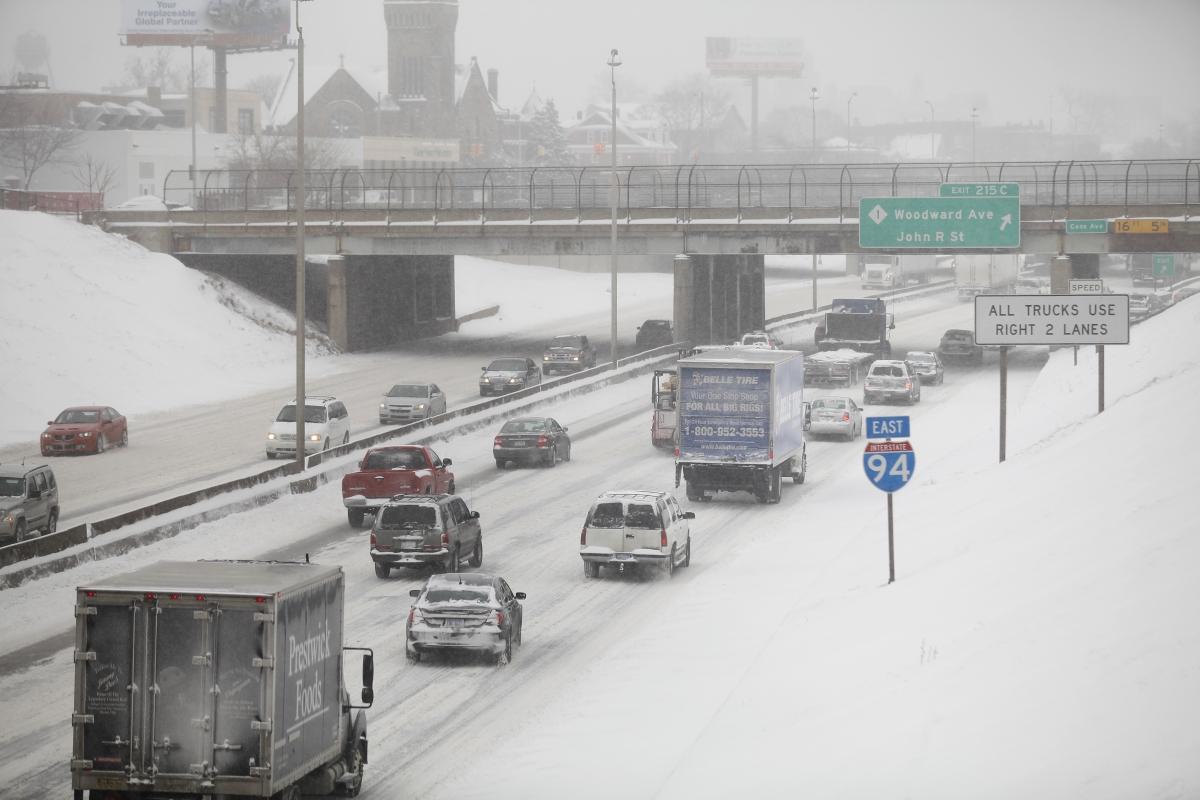 Motorist on Interstate-94 in Detroit, Michigan