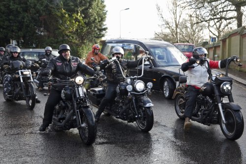 Hell's Angels accompany the coffin of Ronnie Biggs at the Great Train Robber's funeral