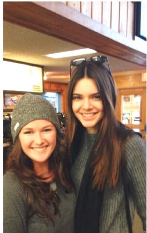 Kendall Jenner Poses with a Fan