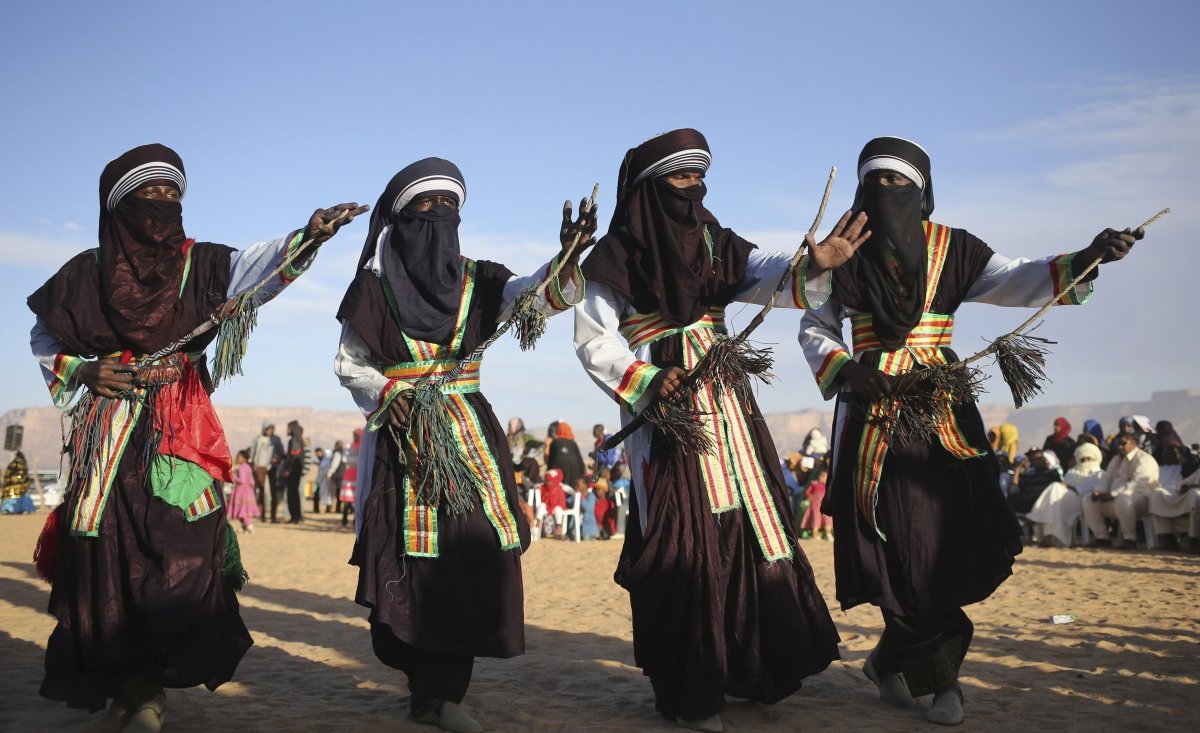 A Tuareg band performs a traditional dance during the 19th Ghat Festival of Culture and Tourism, in Ghat, Libya.