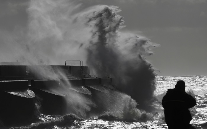 Stormy seas near Brighton marina in south-east England.