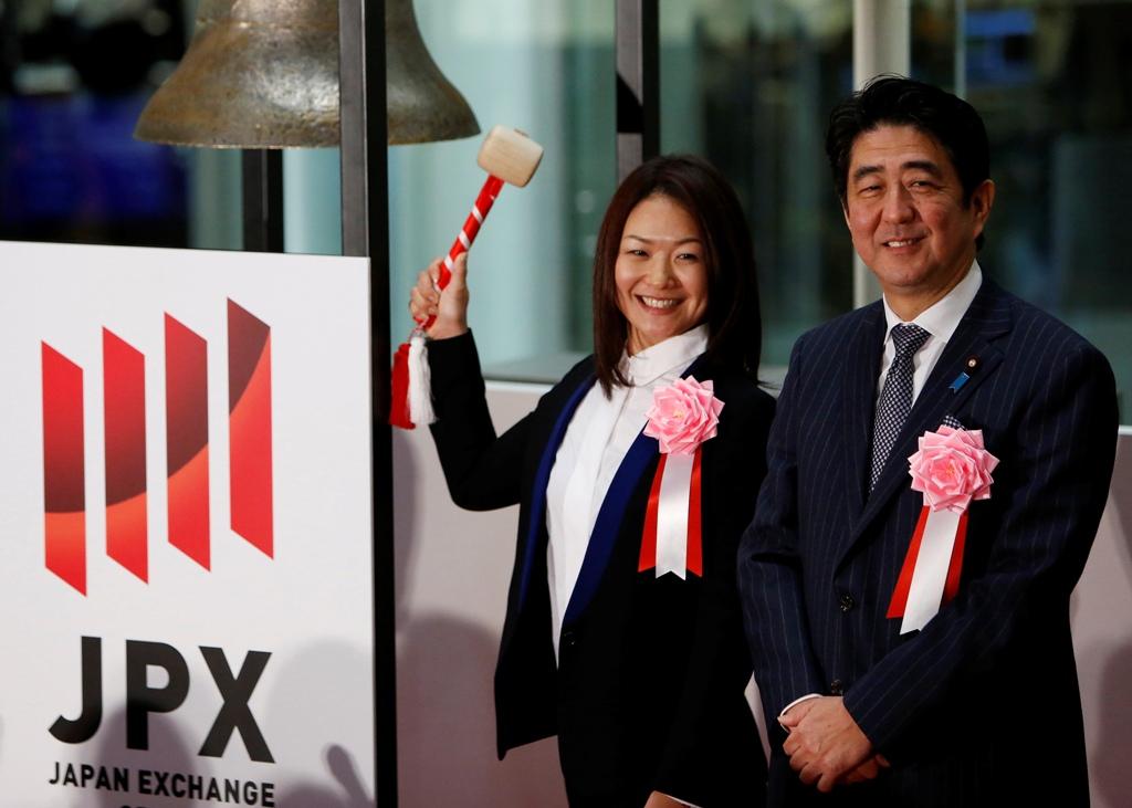 Mami Sato and Shinzo Abe at TSE
