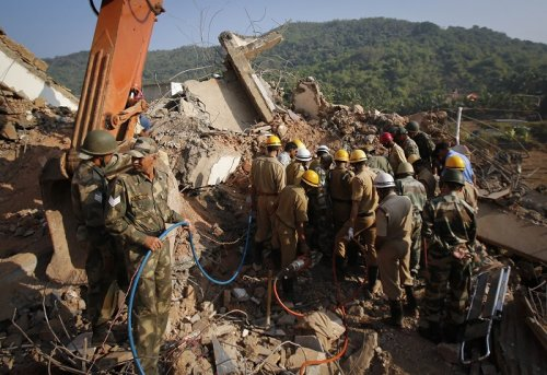 Wreckage of the unfinished residential building that collapsed in Canacona, Goa on Saturday.