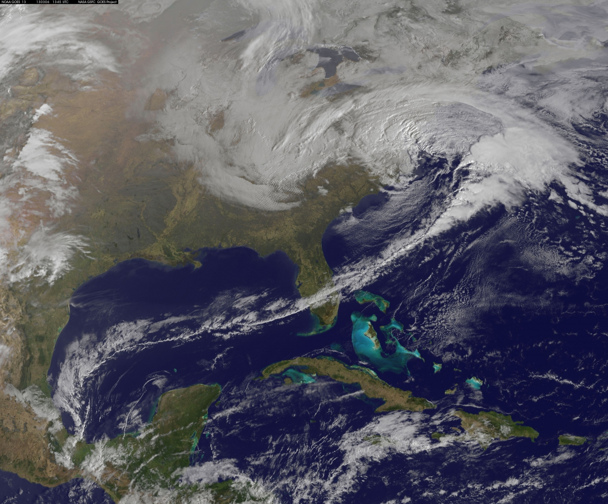 NASA's Aqua satellite captures a massive winter storm moving up the eastern seaboard.
