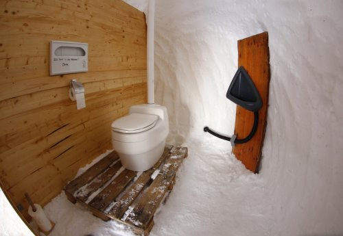 A lavatory built on snow is pictured in the igloo village on top of the mountain Nebelhorn, alpine upland, near the southern Bavarian town of Oberstdorf, Germany.