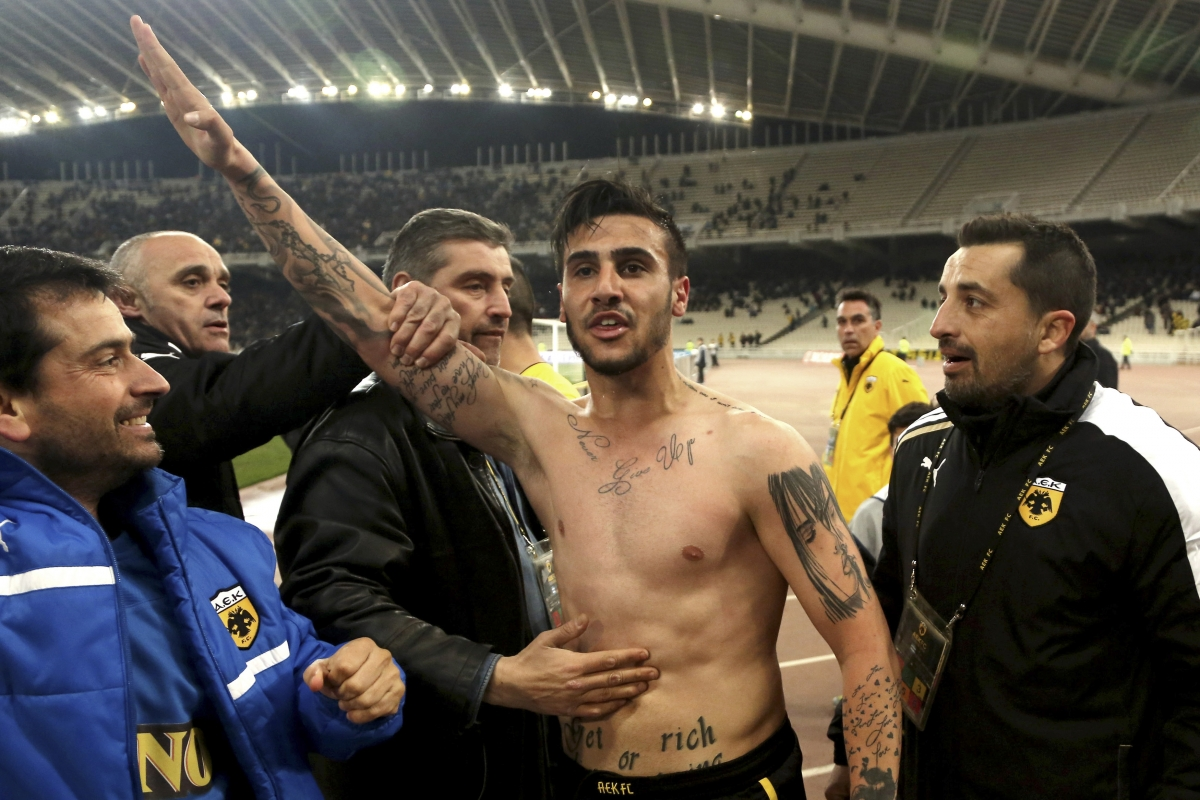 Giorgios Katidis gives the Nazi salute after scoring for AEK Athens in March.