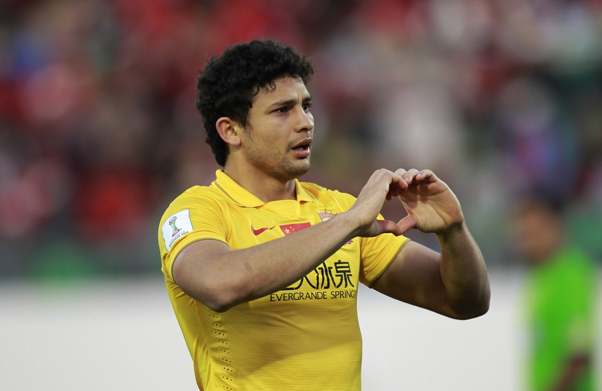 The heart gesture by Elkeson of China's Guangzhou Evergrande - now much imitated by Gareth Bale.
