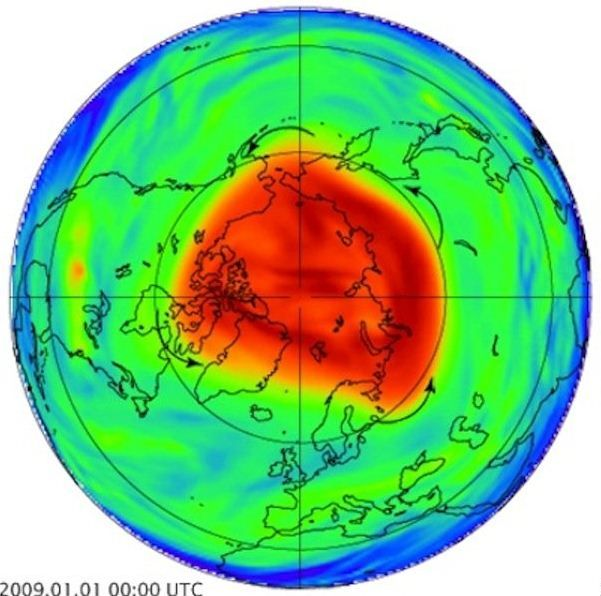 An illustration of the polar vortex in red around the North Pole.