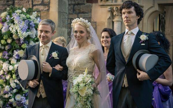 Sherlock in Watson's wedding, in season 3 episode 2