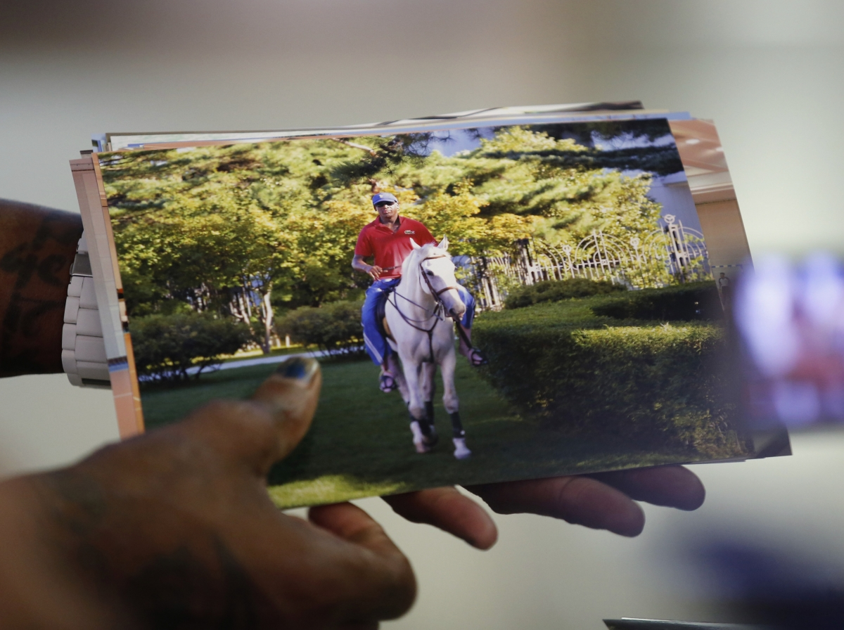 Dennis Rodman takes a ride on Kim Jong Un's own horse during North Korea trip