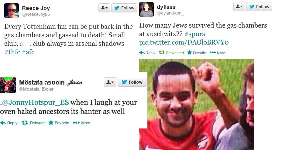 A selection of anti-semetic tweets by Arsenal fans were compiled on distributed among Spurs fans on Twitter and Facebook