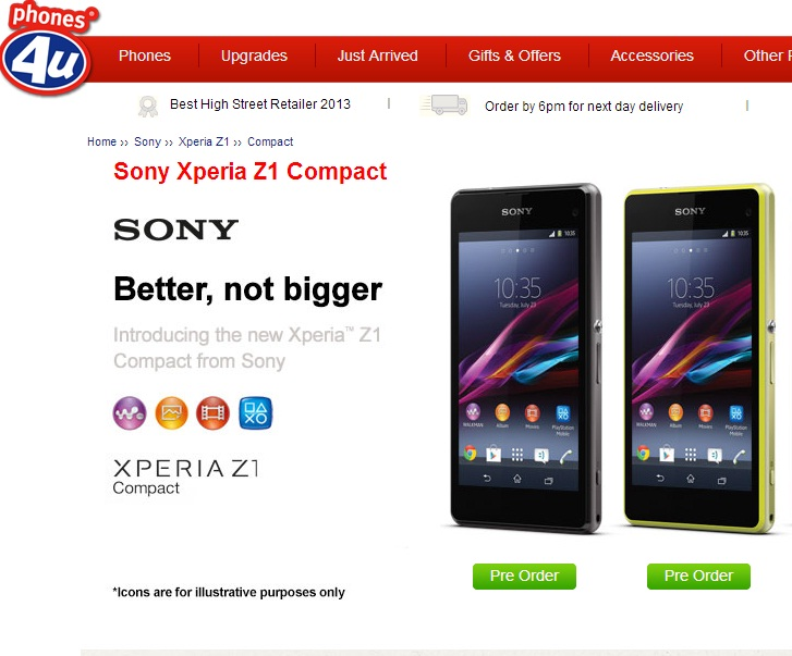 Sony Xperia Z1 Compact Pre-order Begins in UK