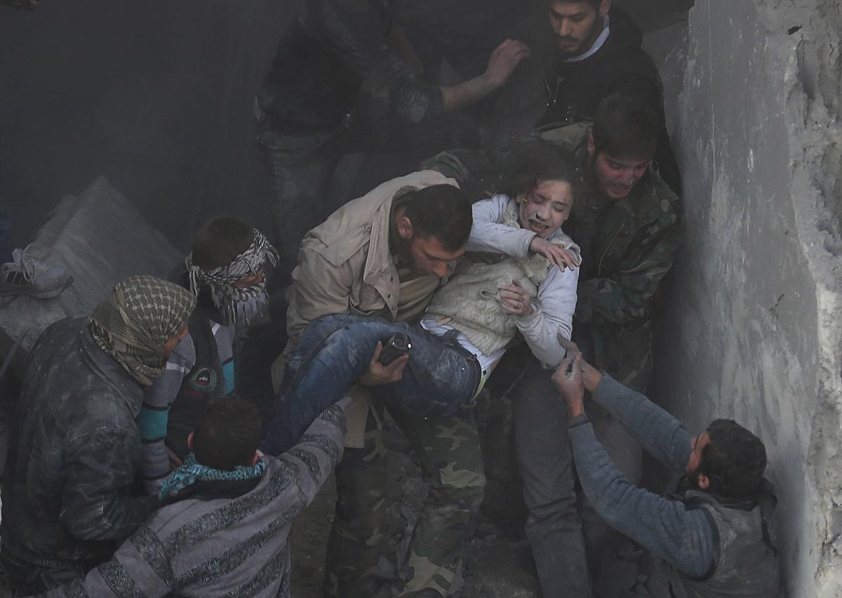syria girl wreckage