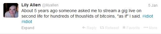 Lily Allen bitcoin tweet