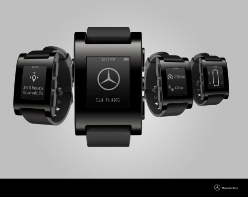 Mercedes and Pebble smartwatch