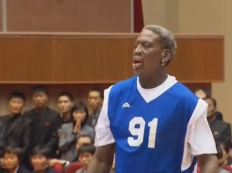 Dennis Rodman in action at the Pyongyang stadium for Kim Jong Un's birthday