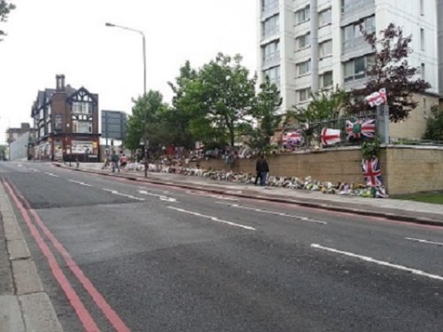 Flowers litter the spot where Lee Rigby was murdered in London