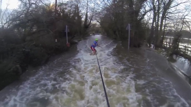 Surrey Wakeboarding Enthusiasts Surf Flooded Lanes