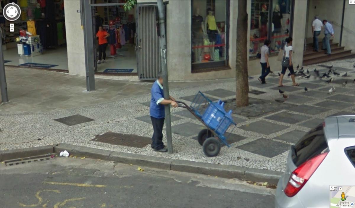 man walk pole