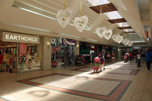 Some low key Christmas decorations in a South African shopping mall
