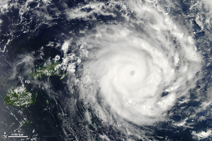 Tropical Cyclone Ian can be seen skirting Fiji in this image by Nasa's Aqua satellite
