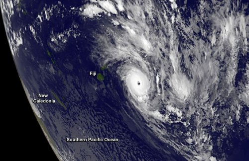 A clear-eyed Cyclone Ian is shown lashing the Tonga Islands.