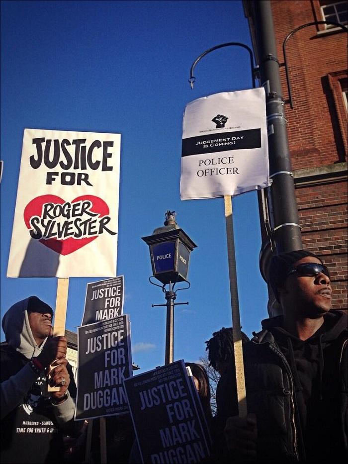 Demonstrators at Mark Duggan vigil