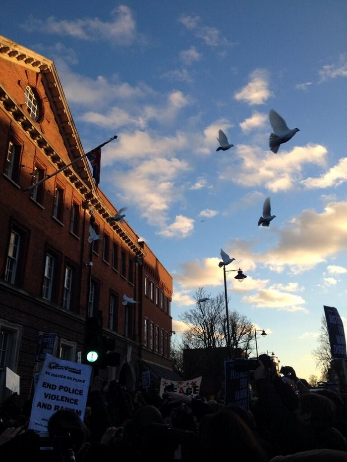 Doves were released at the end of the Mark Duggan vigil