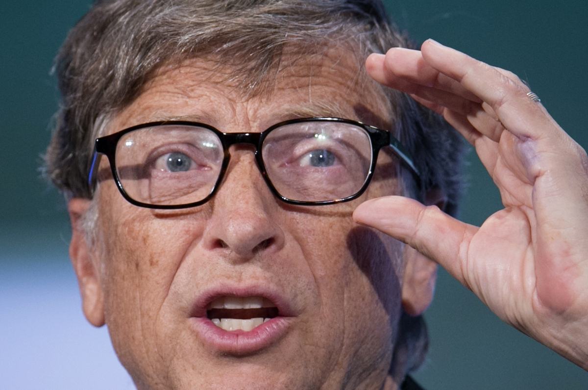 The founder of Microsoft, Bill Gates, speaks on stage at the Clinton Global Initiative 2013 (CGI) in New York.