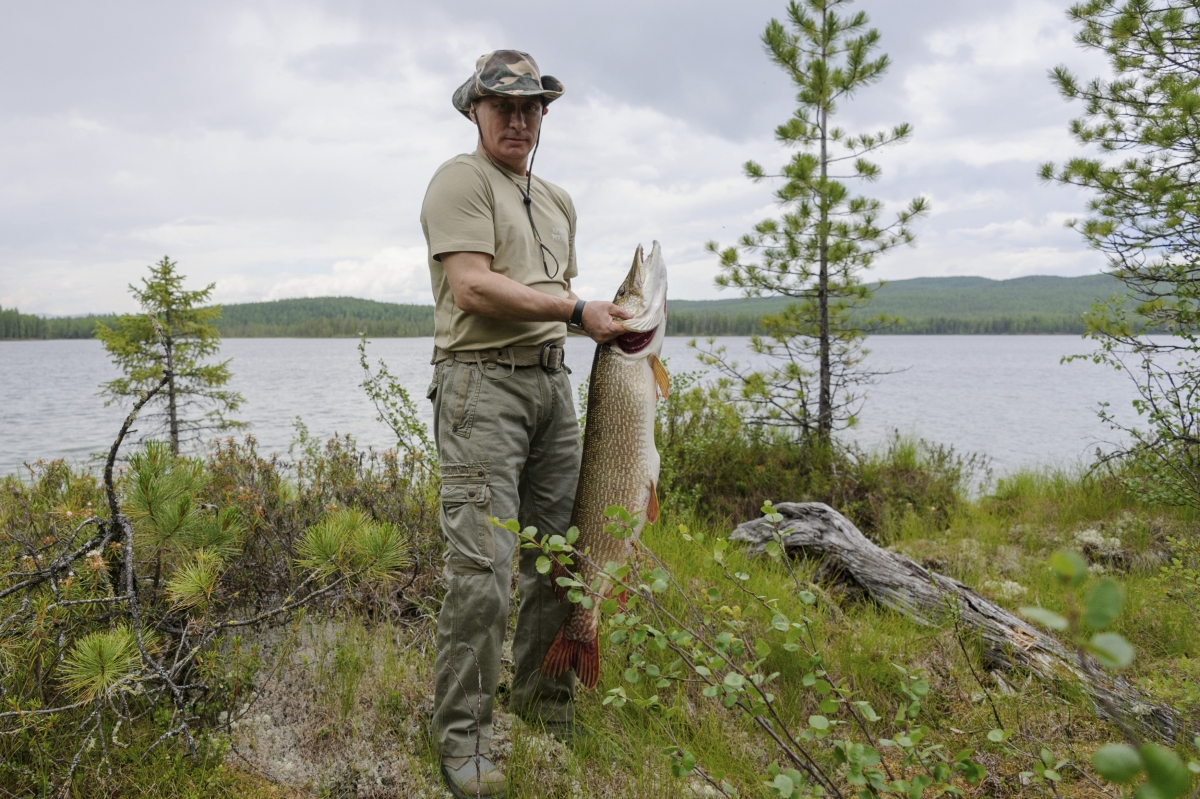 Number 3: Russia's President Vladimir Putin poses for a picture as he fishes in the Krasnoyarsk territory.