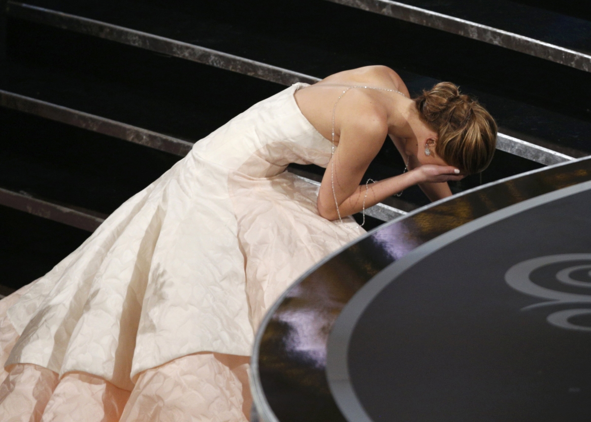 Jennifer Lawrence managed to trip up the stairs when she was collecting her Oscar
