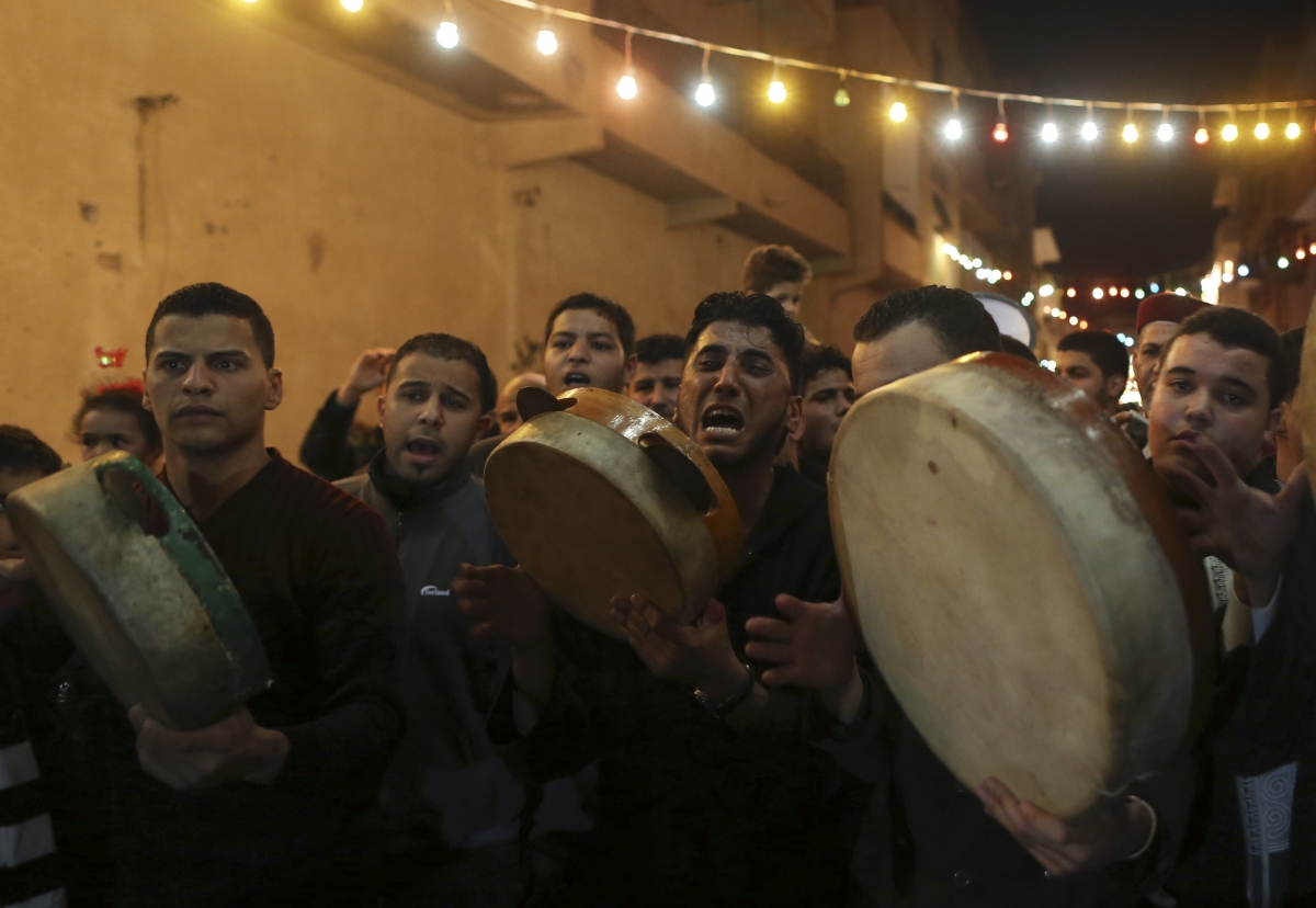 Libyan Sufi Muslims chant and beat drums during a procession to celebrate the birth of Prophet Mohammad.