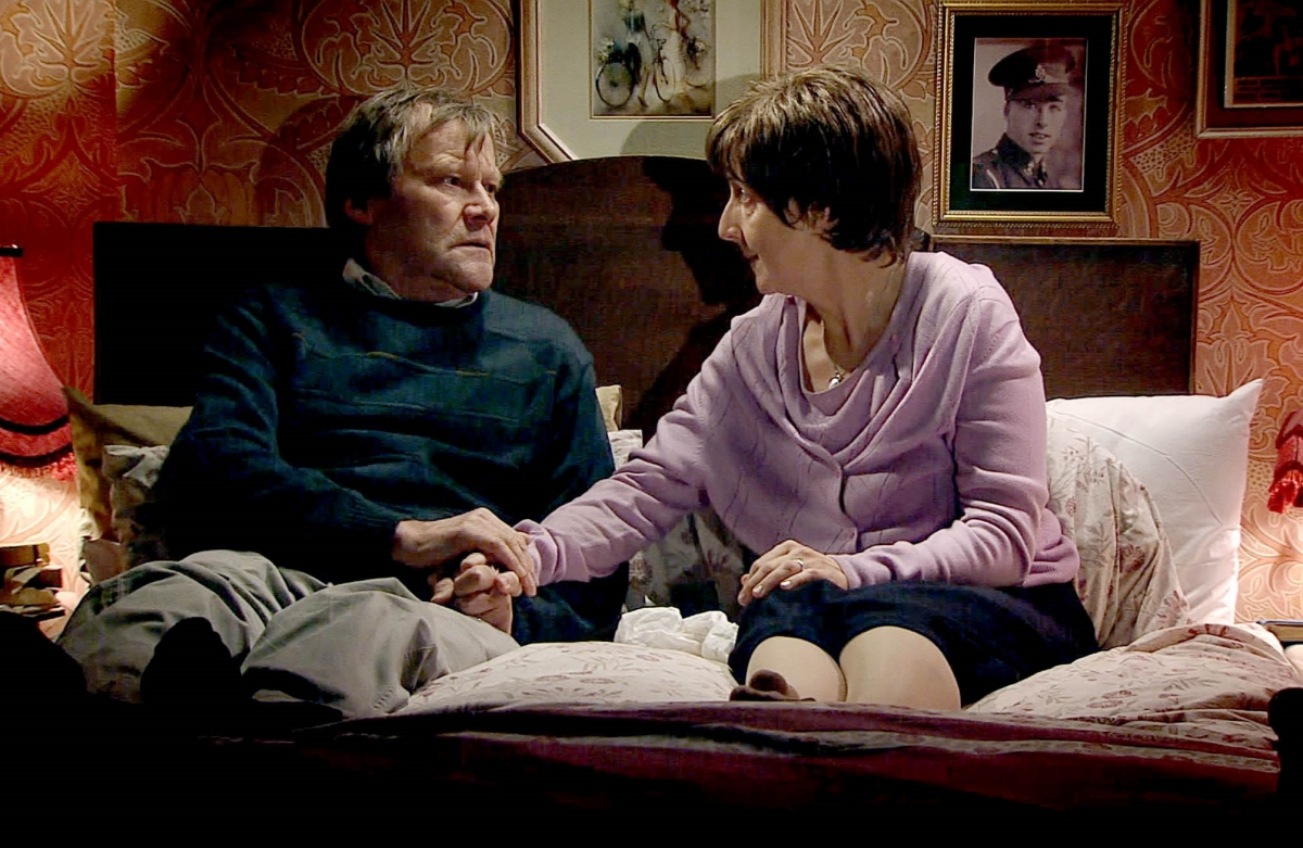 Hayley Cropper (right) with husband Roy shortly before her suicide, which has triggered controversy for Coronation Street