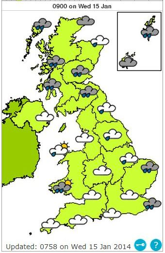 UK weather forecast map