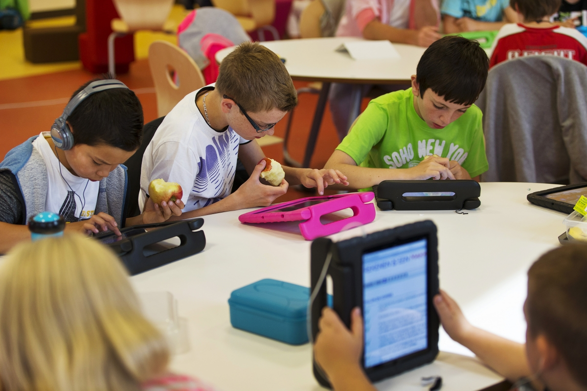 Children using iPads