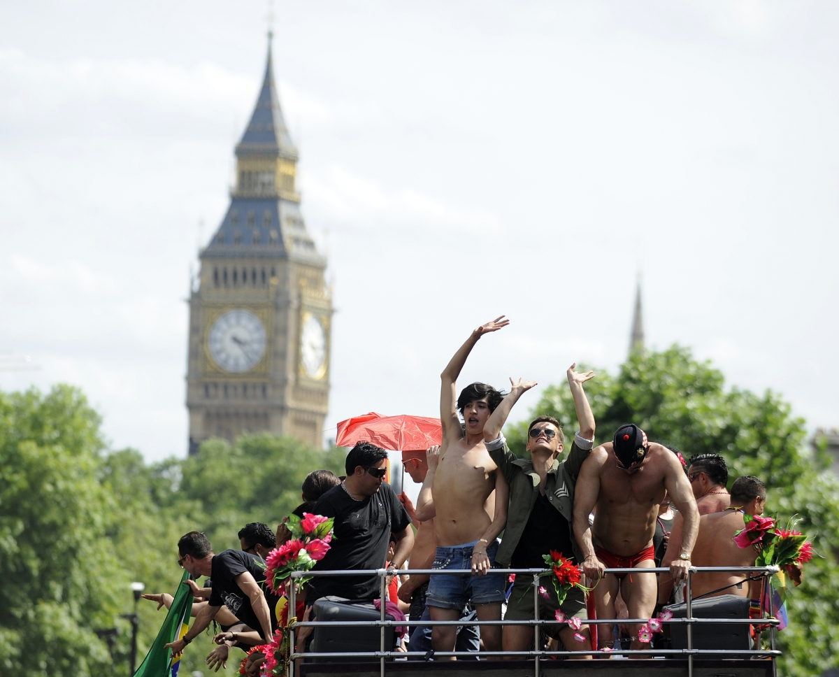 Gay Pride revelers at Parliament: Probably not there for a gay cure