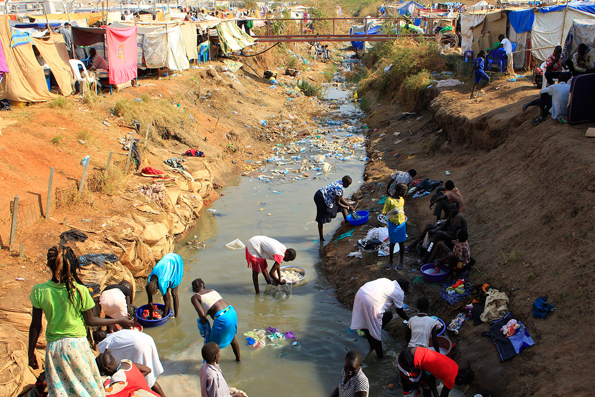 refugee camp drainage ditch